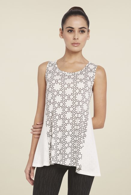 Globus White Round Neck Printed Top