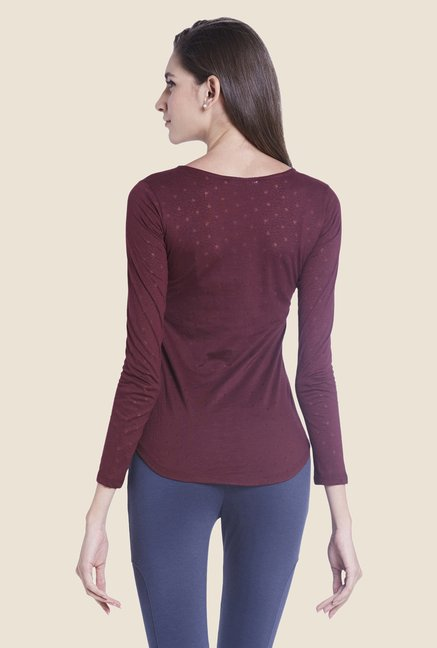 Globus Burgundy Self-print Top
