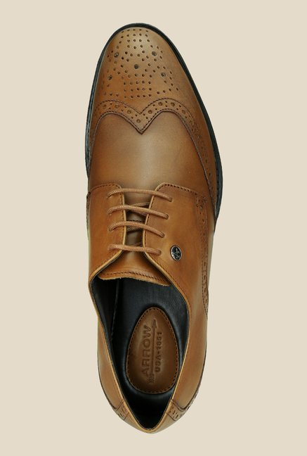 Arrow Tan Leather Brogue Shoes