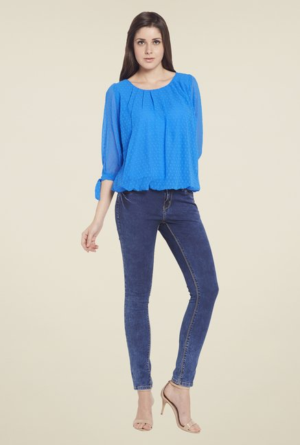 Globus Blue Self Printed Top
