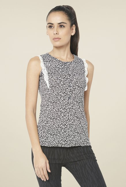 Globus Black Floral Printed Sleeveless Top
