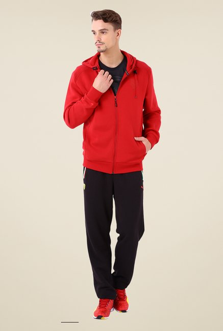 Puma Red Solid Cotton Jacket