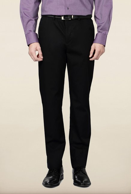 Allen Solly Black Solid Formal Trouser