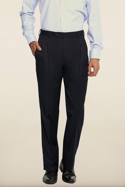 Van Heusen Black Solid Formal Trouser
