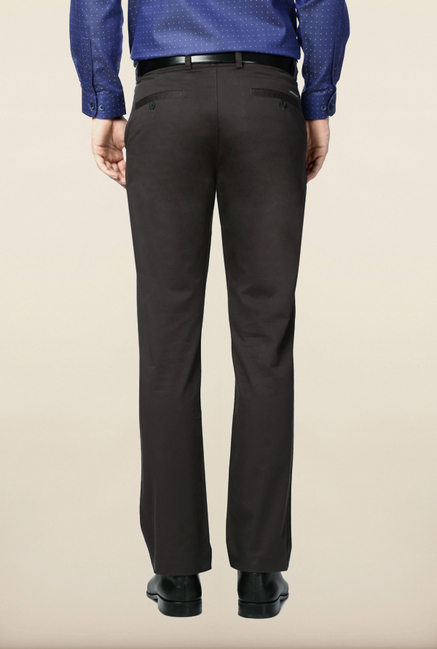 Peter England Grey Solid Formal Trouser
