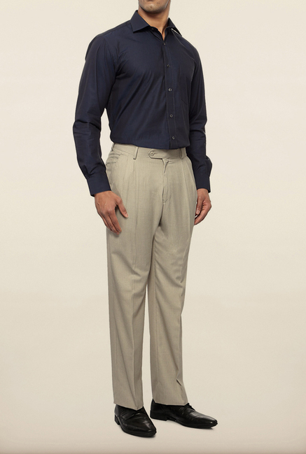 Van Heusen Cream Solid Formal Trouser