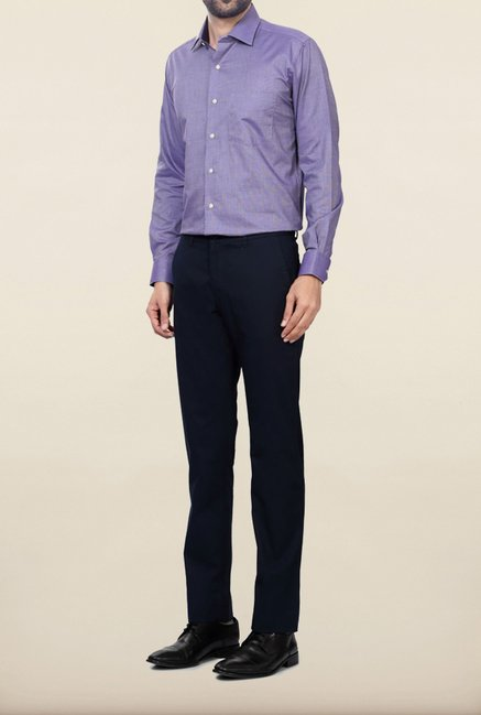 Allen Solly Navy Solid Formal Trouser
