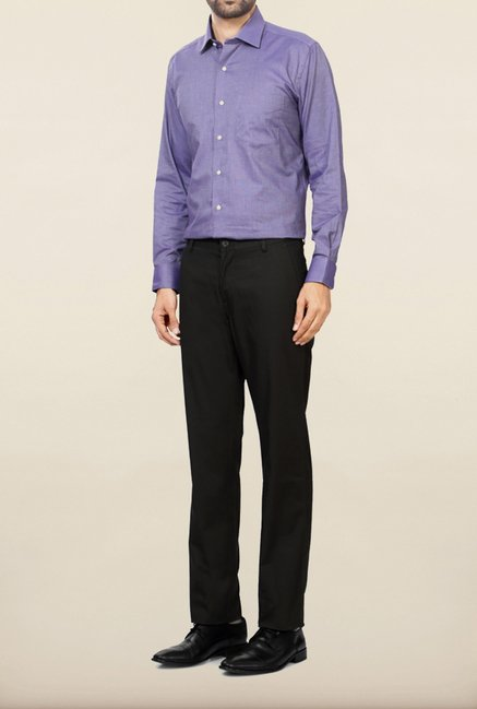 Allen Solly Olive Solid Formal Trouser