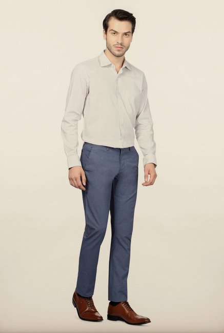Allen Solly Blue Solid Formal Trouser