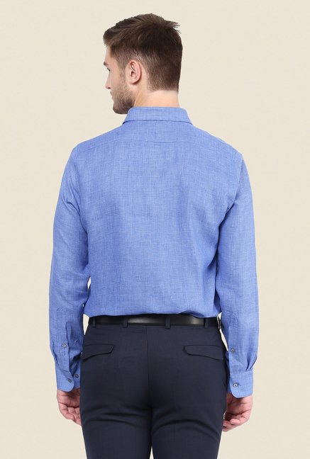 Turtle Blue Houndstooth Linen Shirt