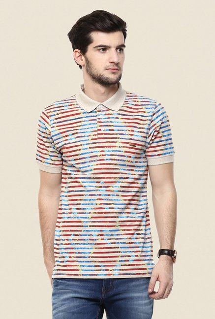 Turtle Beige Printed Polo T Shirt