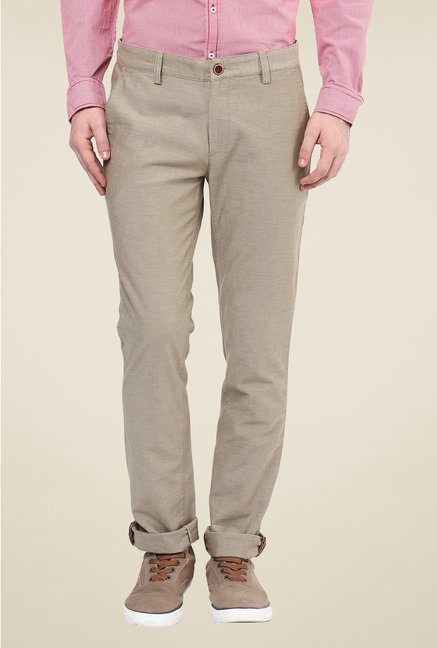 Turtle Beige Solid Trouser