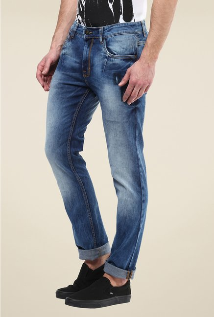 Turtle Blue Heavily Washed Jeans