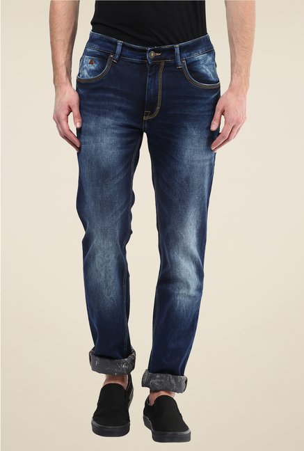 Turtle Dark Blue Heavily Washed Jeans