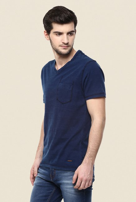 Turtle Blue Solid V Neck T Shirt