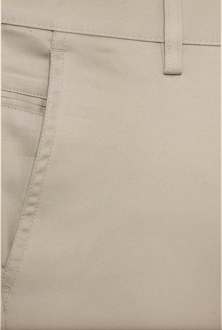 Allen Solly Cream Solid Formal Trouser