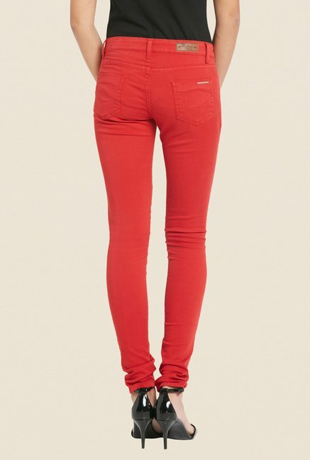 Globus Red Solid Raw Denim Jeans
