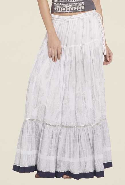 Globus White Printed Maxi Skirt