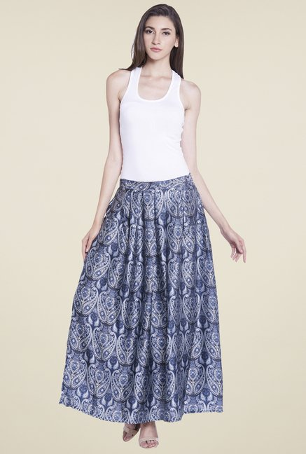 Globus Blue Printed Maxi Skirt