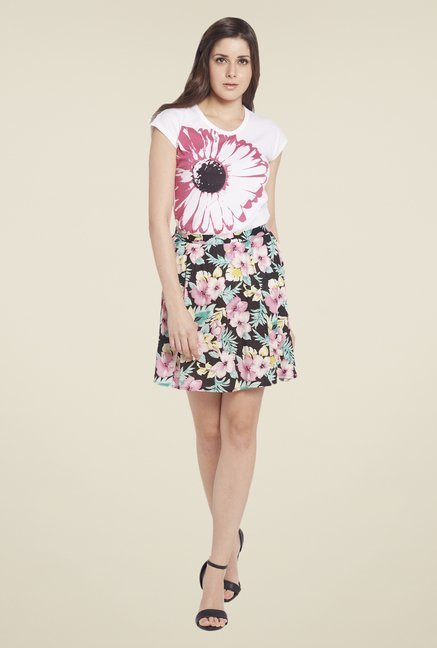 Globus Multicolor Floral Printed Mini Skirt