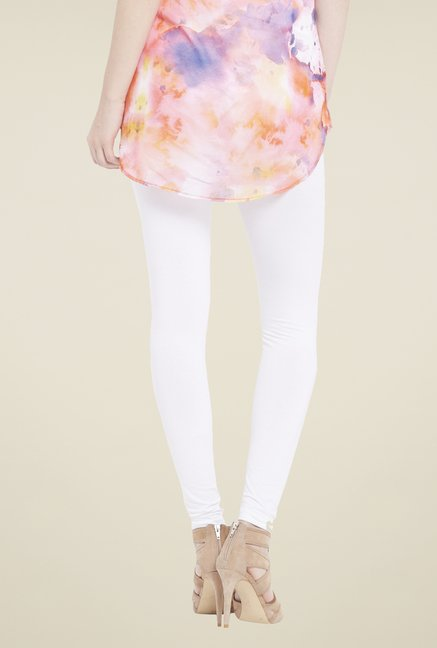 Globus White Solid Leggings
