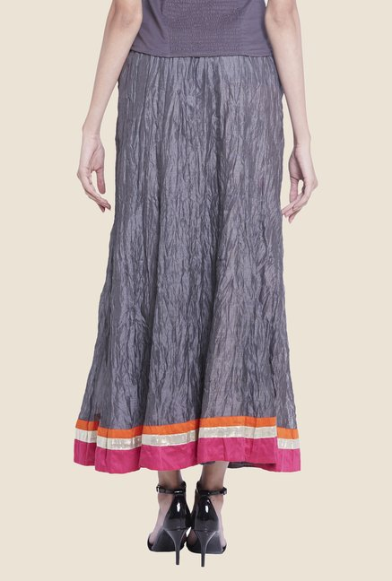 Globus Dark Grey Solid Maxi Skirt
