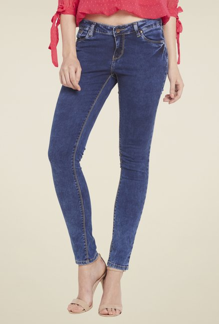 Globus Blue Solid Raw Denim Jeans