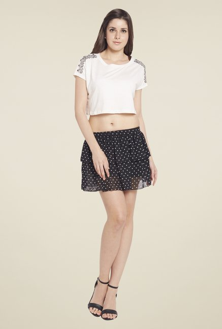 Globus Black Printed Mini Skirt