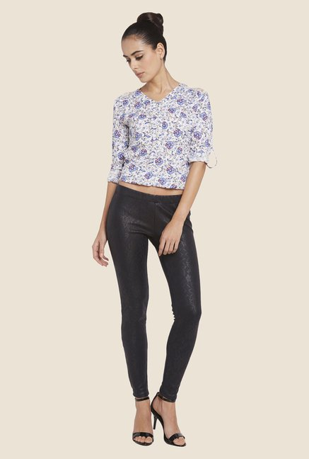 Globus Black Self Printed Leggings