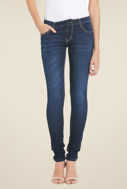 Globus Navy Lightly Washed Skinny Fit Jeans