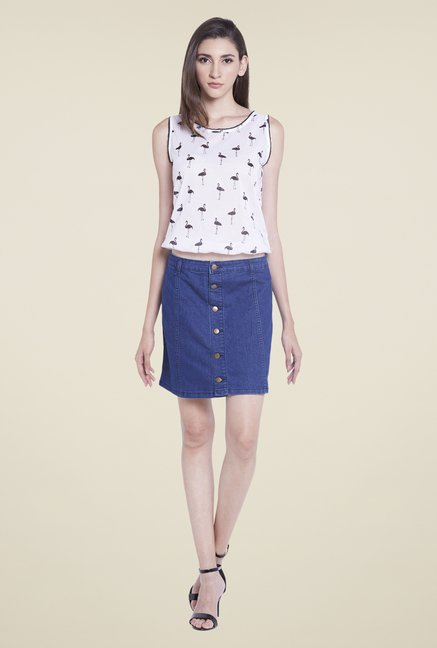 Globus Denim Blue Solid Mini Skirt