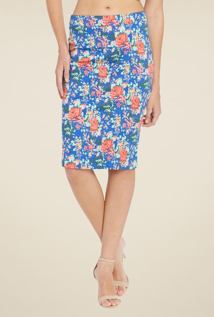 Globus Blue Floral Printed Pencil Skirt