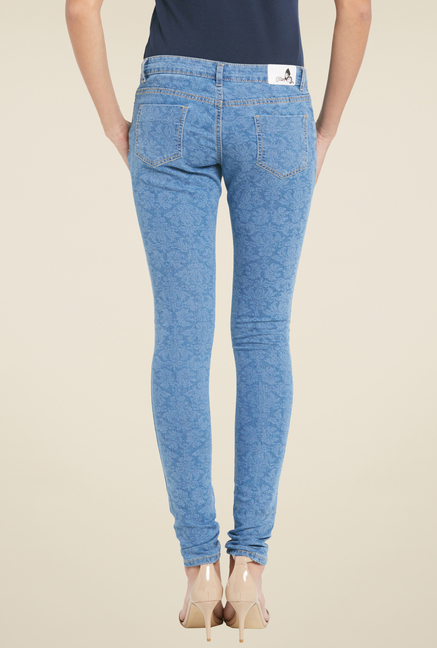 Globus Blue Printed Denim Jeans