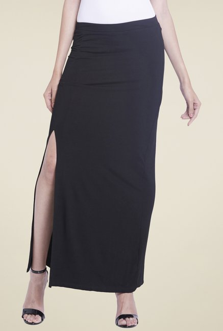 Globus Black Solid Maxi Skirt
