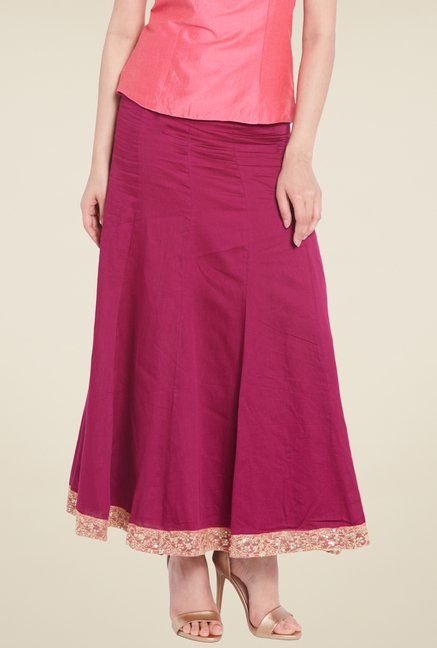 Globus Purple Solid Maxi Skirt