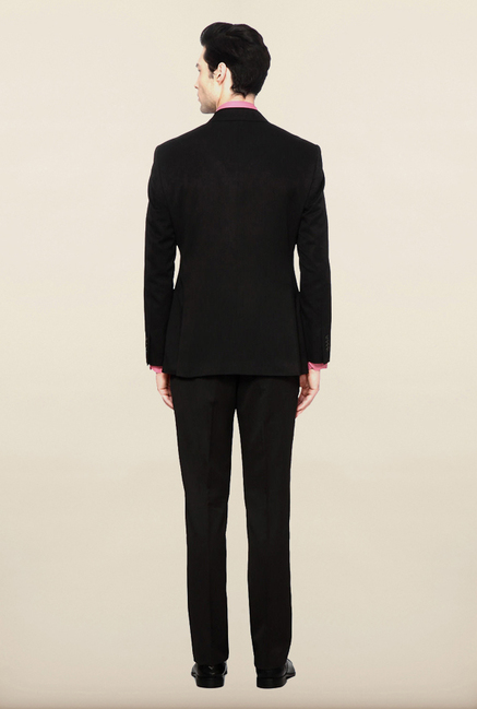 Peter England Black Solid Formal Suits