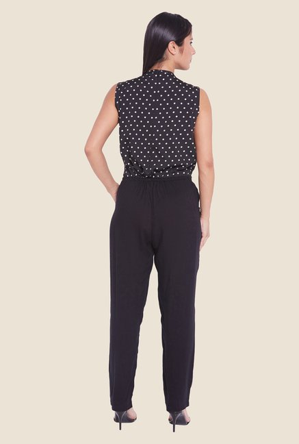 Globus Black Polka Dot Printed Jumpsuit