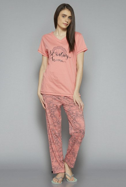Intima by Westside Pink Shell Printed Pyjama Set
