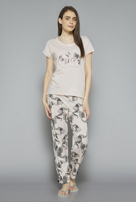 Intima by Westside Grey Printed Pyjama Set