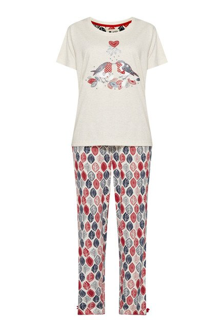 Intima by Westside Off White Leaf Printed Pyjama Set