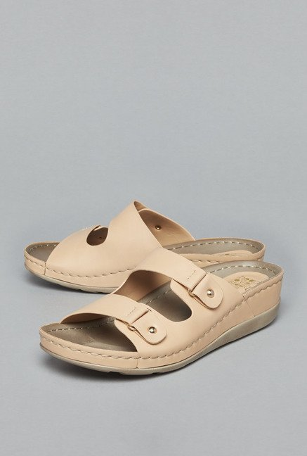 Head Over Heels by Westside Beige Slide Sandals
