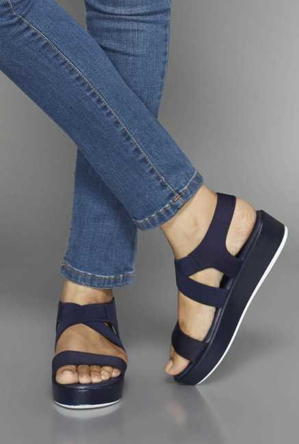 Head Over Heels by Westside Navy Cross Strap Sandals