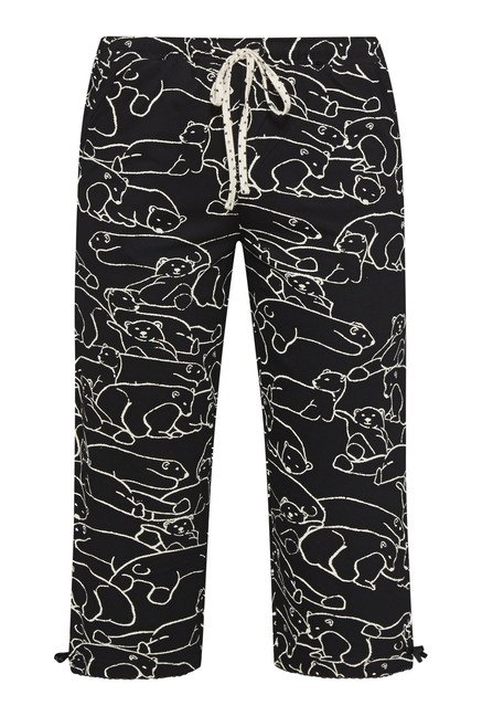 Intima by Westside Black Animal Print Capri