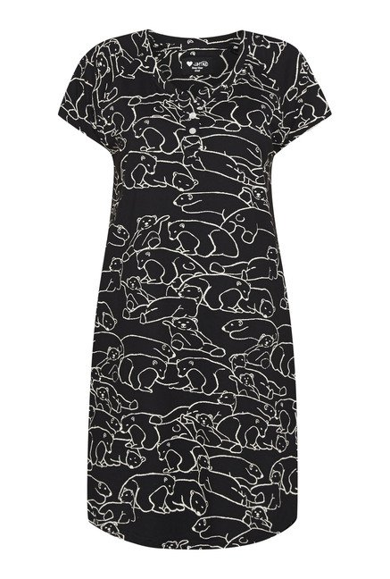 Intima by Westside Black Animal Print Nightdress