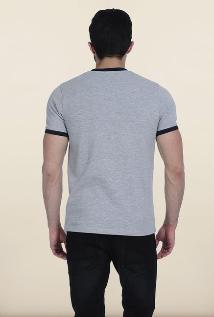Basics Heather Grey Henley T Shirt