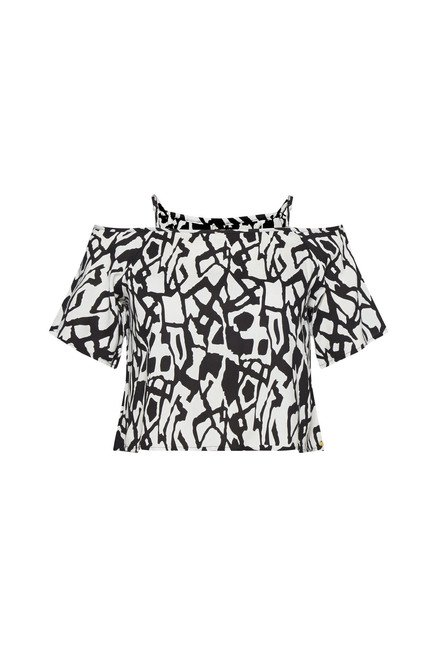 Nuon by Westside White Printed Crop Top
