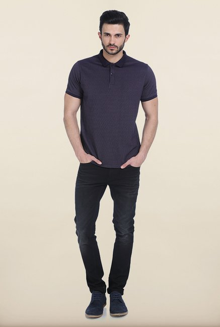 Basics Twilight Purple Jacquard Polo T Shirt