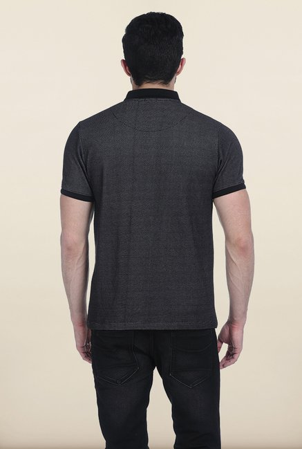 Basics Moonless Black Jacquard Polo T Shirt