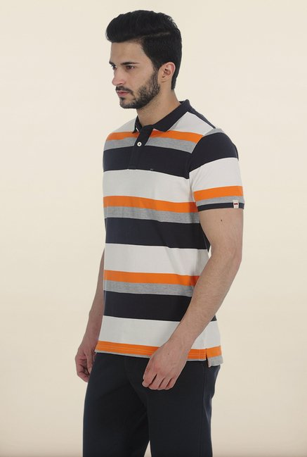 Basics Smoked Grey Striped Polo T Shirt