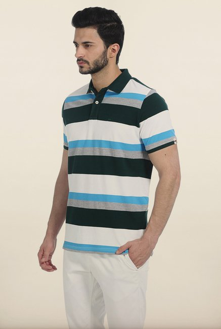 Basics Blue Striped Polo T Shirt